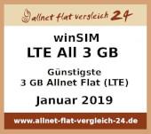 winSIM LTE All 3 GB  - Günstigste 3 GB Allnet Flat