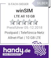 handy.de winSIM LTE All 10 GB 8-fach-Sieger Allnet Flat