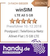 winSIM LTE All 5 GB 3-fach-Sieger Allnet Flat